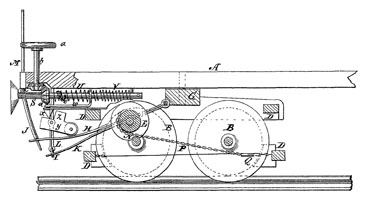 Diagram for an automatic brake patented by Luther Adams in 1873.
