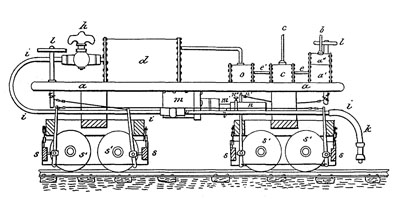 Patent illustration for George Westinghouse's first patent for an air-brake.
