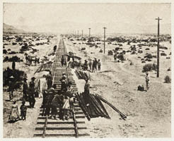Alfred A. Hart photograph of Chinese Central Pacific construction crews along the Humboldt Plains in Nevada.