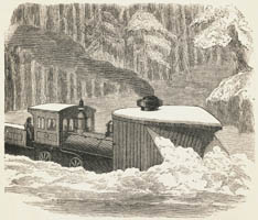 Snow plows, pushed by one or two locomotives, helped kept the tracks clear.