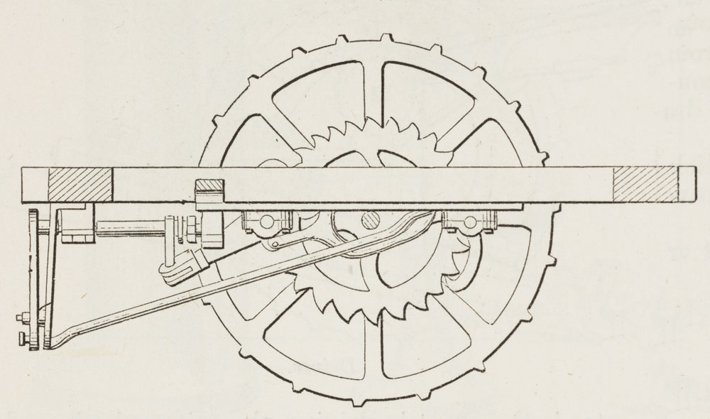 one of the large wheels of a locomotive to which the connecting-rods of the  engine are attached