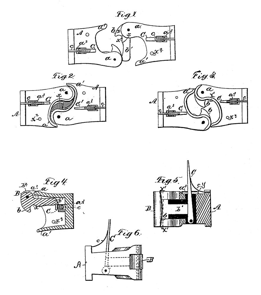 A Glossary Of 19th Century Railroad Terms The Transcontinental Plans For Train Track Wiring Knuckle Coupler Drawing From E Janneys Patent 138405