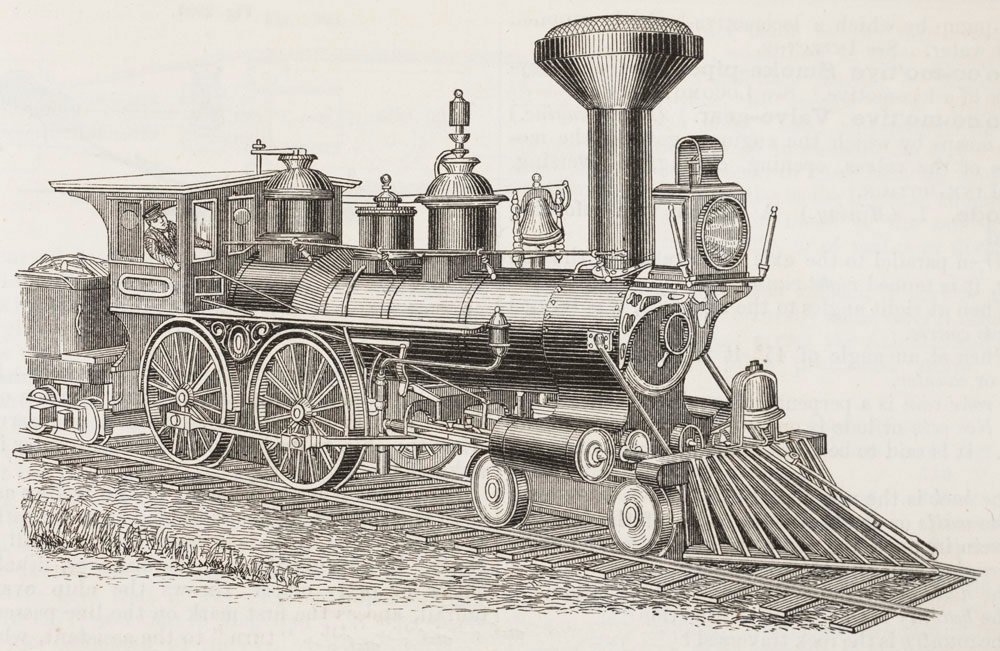 Locomotive a self moving travelling steam engine